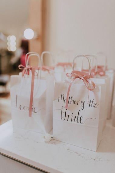 Bridesmaid Gift Bags | Millbridge Court, Surrey Wedding with DIY Decor, Foliage & Giant Balloons | Nataly J Photography