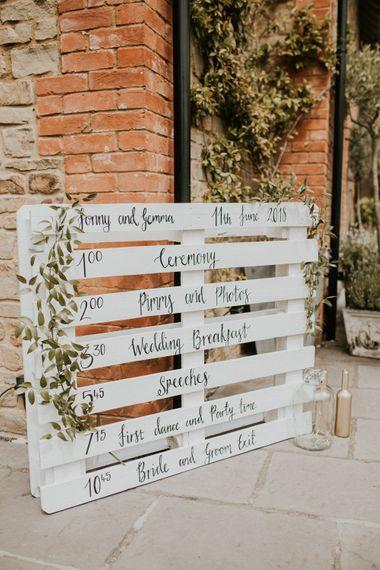 DIY White Painted Palette Order of The Day Sign | Wedding Decor | Millbridge Court, Surrey Wedding with DIY Decor, Foliage & Giant Balloons | Nataly J Photography