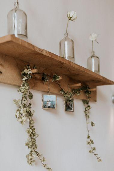 Wooden Shelf Wedding Decor | Millbridge Court, Surrey Wedding with DIY Decor, Foliage & Giant Balloons | Nataly J Photography