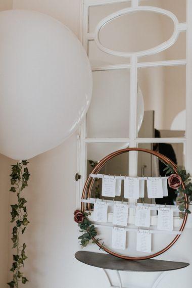 DIY Hoop Table Plan with Giant Balloon | Wedding Decor | Millbridge Court, Surrey Wedding with DIY Decor, Foliage & Giant Balloons | Nataly J Photography