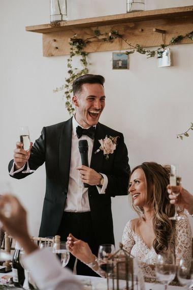 Wedding Breakfast Speeches | Groom in Tuxedo | Millbridge Court, Surrey Wedding with DIY Decor, Foliage & Giant Balloons | Nataly J Photography