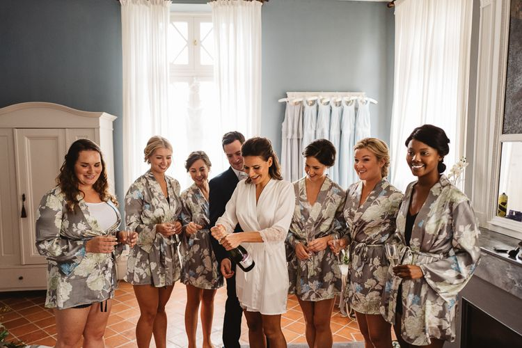 Bride & Bridesmaids In Robes Getting Ready For Wedding // French Destination Wedding Bordeaux  Marry Me In France Suzanne Neville Bride Darek Smietana Photography