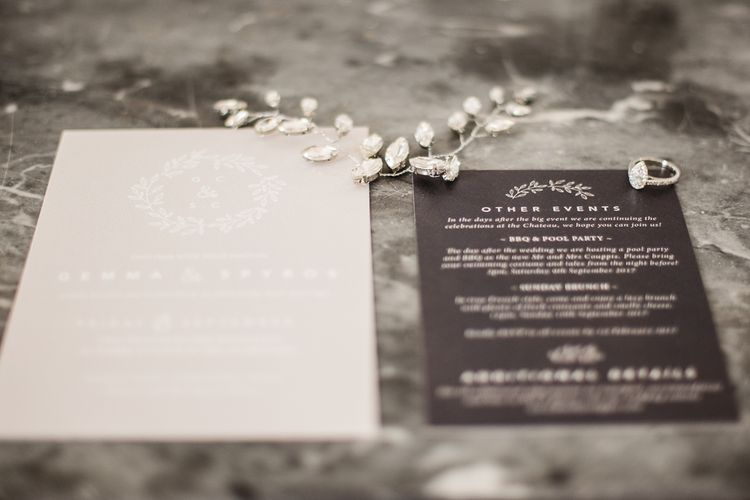 Elegant Grey Stationery Suite // French Destination Wedding Bordeaux  Marry Me In France Suzanne Neville Bride Darek Smietana Photography