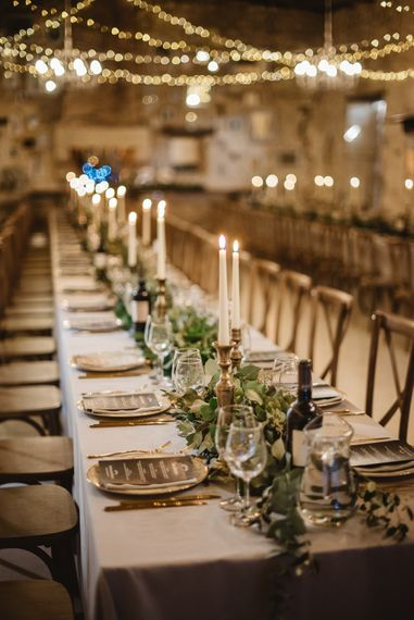 Tapered Candles, Grey Linen And Foliage Runner For Wedding // French Destination Wedding Bordeaux  Marry Me In France Suzanne Neville Bride Darek Smietana Photography