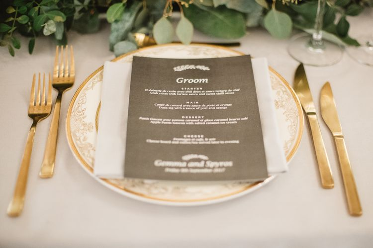 Wedding Menu Card In Grey // French Destination Wedding Bordeaux  Marry Me In France Suzanne Neville Bride Darek Smietana Photography