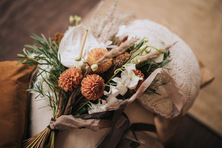 Boho Wedding Bouquet with Pompom Dahlias, white Anthurium's, Pampas Grass and Orchids