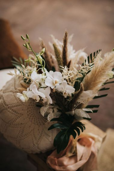 Wedding Bouquet with White Orchids and Pampas Grass