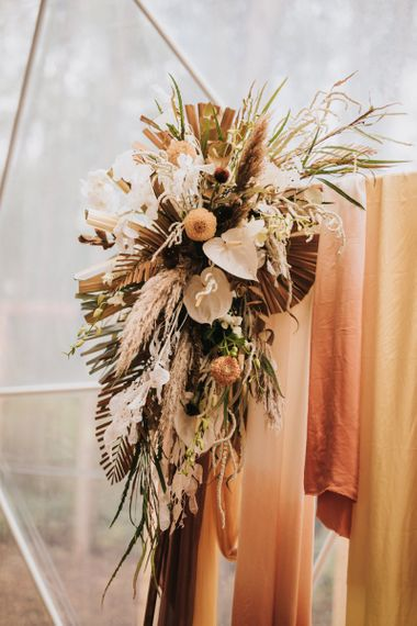 Boho Wedding Flowers with Dried Palm Leaves, White Anthurium's and Pampas Grass