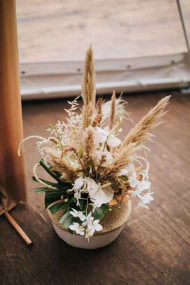Boho Flower Arrangement in Wicker Basket