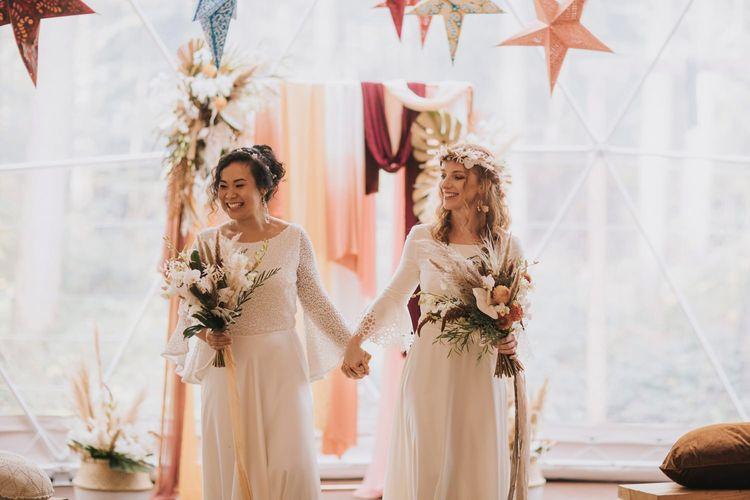 Happy Bohemian Brides at Their Geometric Dome Wedding