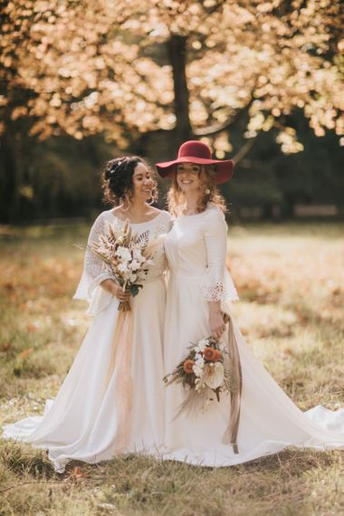 Boho Brides Portrait in the Woods with Felt Hat