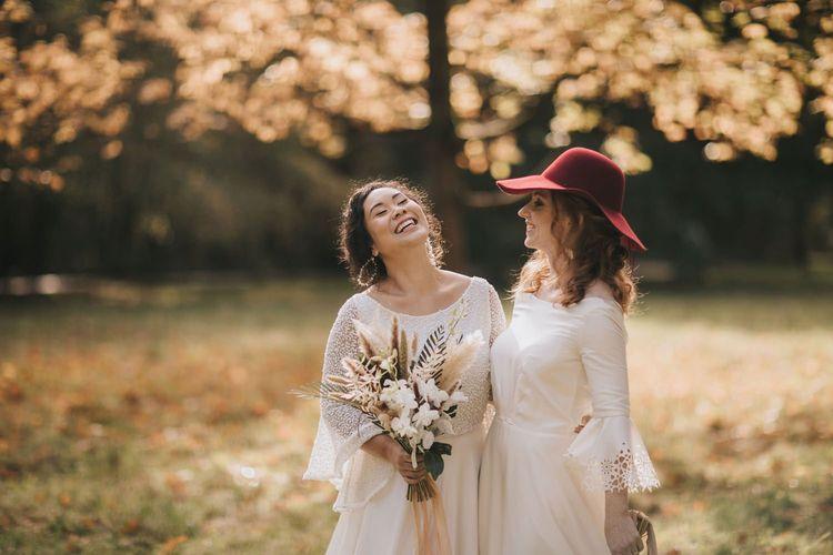 Lesbian Wedding in Woodland Setting with Geometric Dome Venue