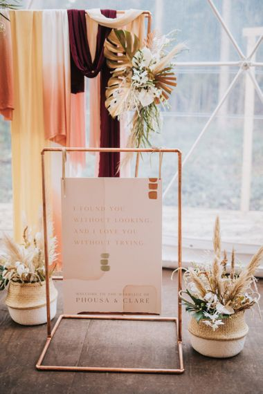 Hanging Wedding Sign Love Quote on Copper Frame in Geometric Dome