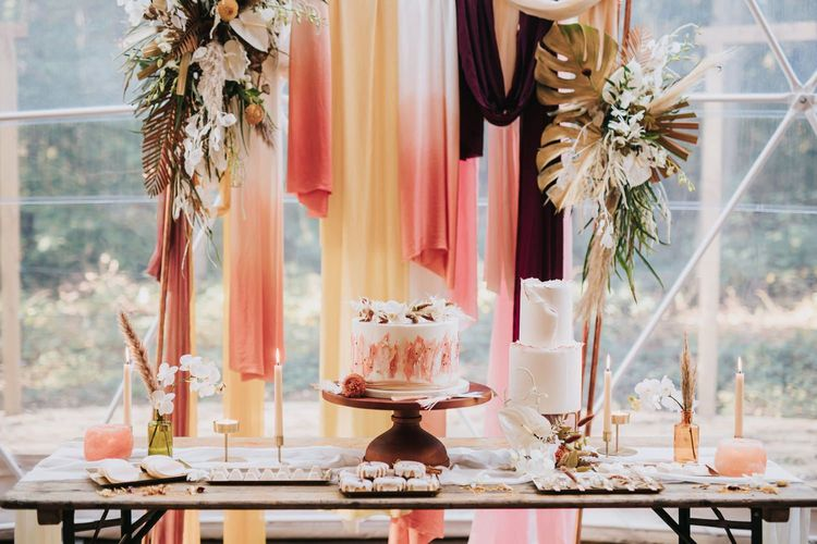 Dessert Table with Wedding Cakes, Doughnuts and Biscuits in Geometric Dome
