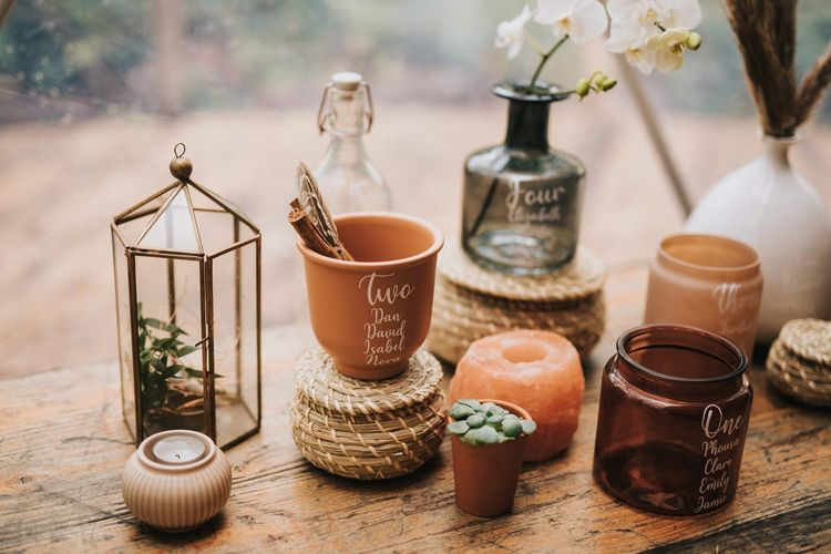 Bohemian Wedding Decor with Terrariums and small wicker pots in Geometric Dome