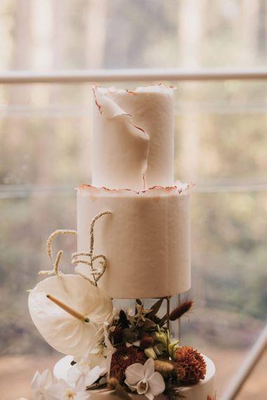 Elegant Wedding Cake in Geometric Dome