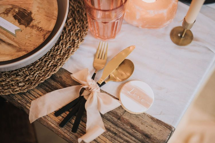 Gold Cutlery Tied with Ribbon and Biscuit Wedding Favour
