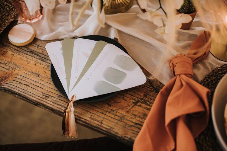 Fan Wedding Invitation with Tassel Detail