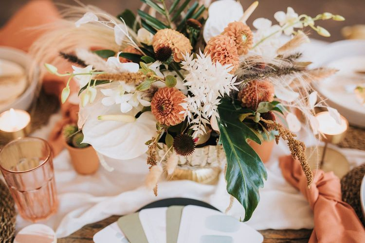 Flower Centrepiece with Pompom Dahlias, white Anthurium's and Dried Grasses