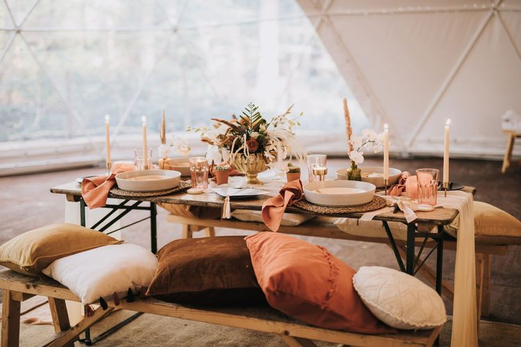 Boho Table Decor with Cushions and Candlelight in Geometric Dome