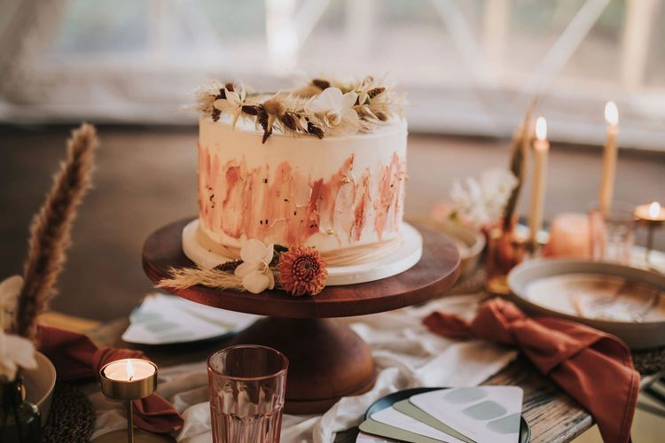 Dried Flower Halo Cake Topper on Rustic Wedding Cake in Geometric Dome
