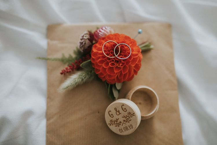 Orange Dhalia Buttonhole with Wooden Ring box