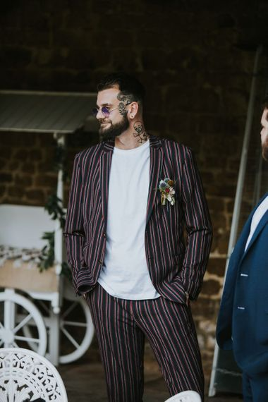 Stylish Wedding Guest in Stripy Suit