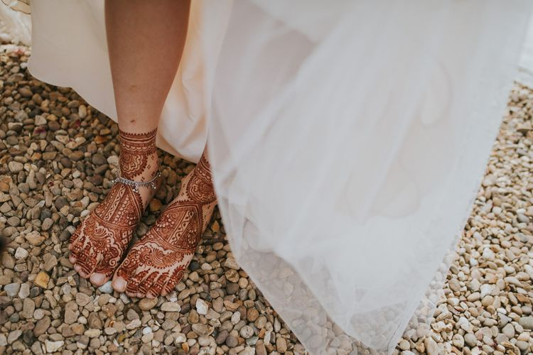 Bride with Henna Print on Her Feet
