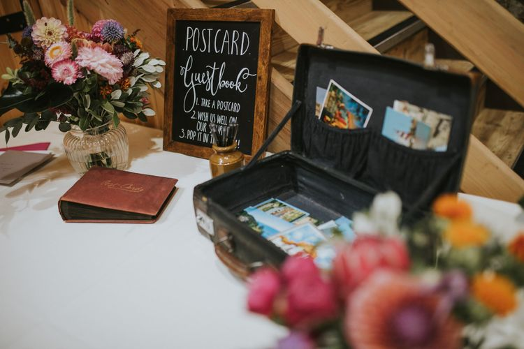 Vintage Suitcase Wedding Card Box and Guest Book Table