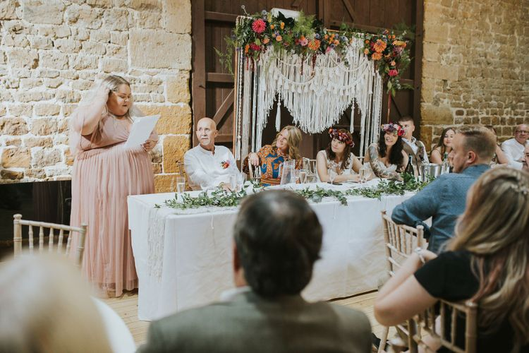 Bridesmaid / Best Girl Wedding Speech at the Top Table