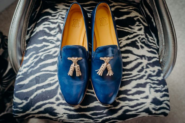 Blue wedding shoes for Groom