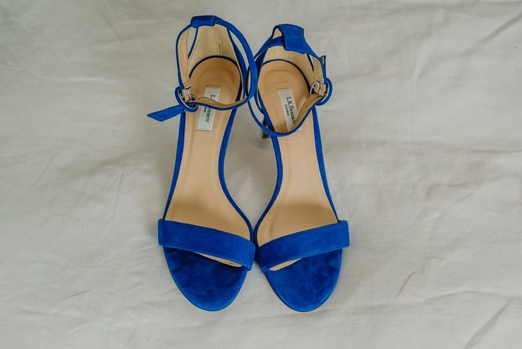 Blue wedding shoes for bride