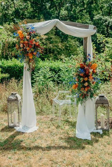 Bright wedding decorations and flowers for ceremony