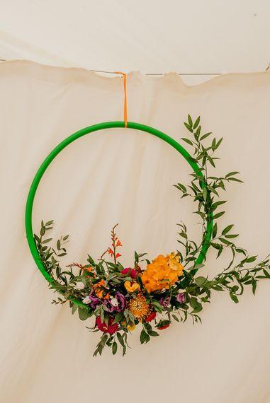 Hoop wedding decor and bright wedding decorations
