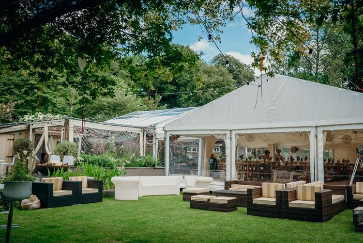 Marquee wedding with bright wedding decorations
