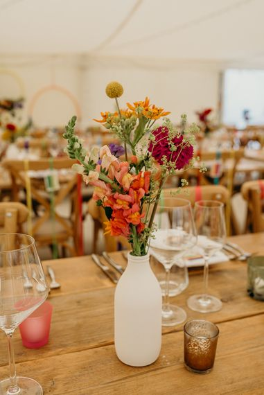 Colourful wedding flowers and bright wedding decorations