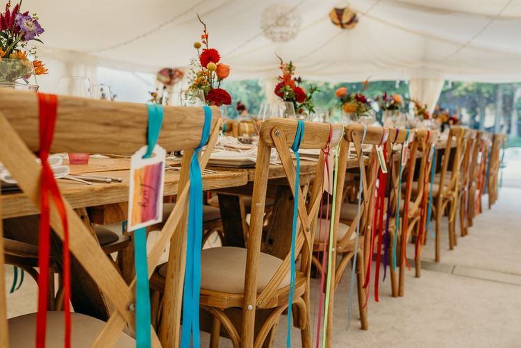 Bright wedding decorations for chairs