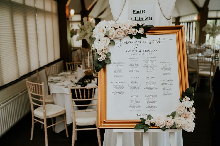 Framed seating chart with rose decor
