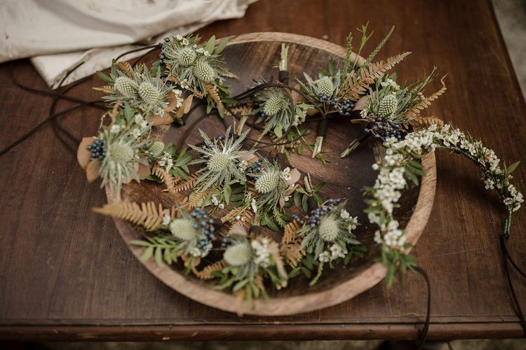 Buttonholes for wedding party