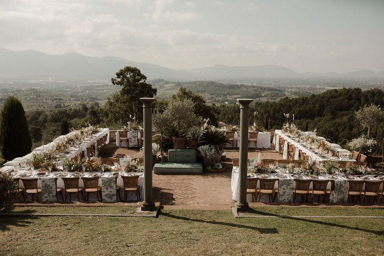 Amazing views over Italian countryside for wedding breakfast