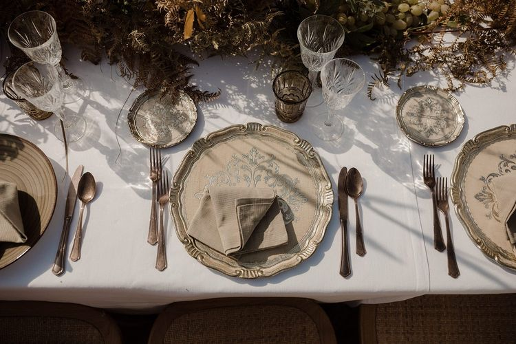 Wedding place setting with decorative plates