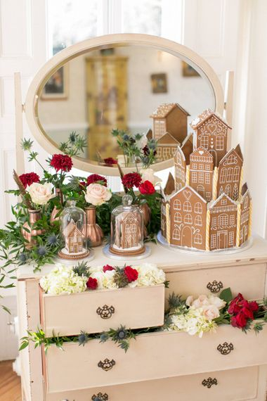 Gingerbread House For A Festive Christmas Wedding With Red And White Florals Stag Motif Stationery Planned & Styled By La Fete Anneli Marinovich Photography
