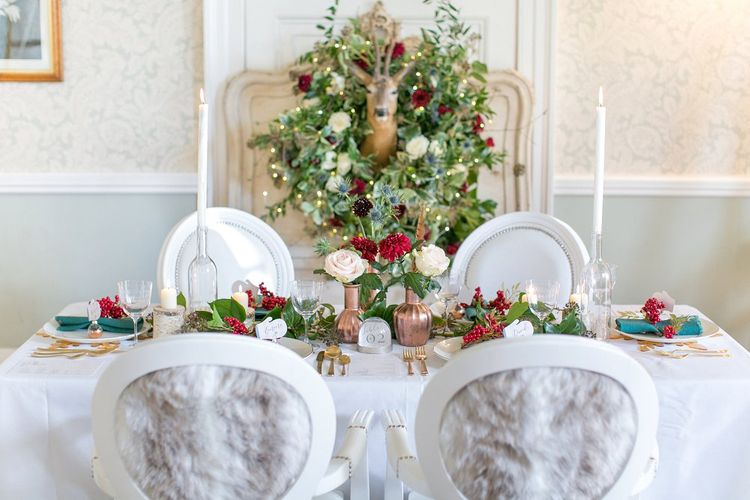 Winter Wedding Tablescape // Gingerbread House For A Festive Christmas Wedding With Red And White Florals Stag Motif Stationery Planned & Styled By La Fete Anneli Marinovich Photography