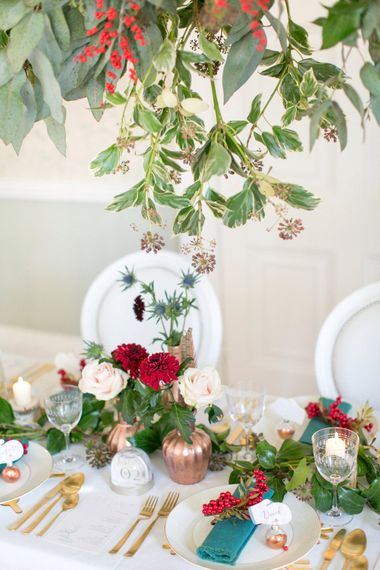 Red Berry Details For Winter Wedding // Gingerbread House For A Festive Christmas Wedding With Red And White Florals Stag Motif Stationery Planned & Styled By La Fete Anneli Marinovich Photography