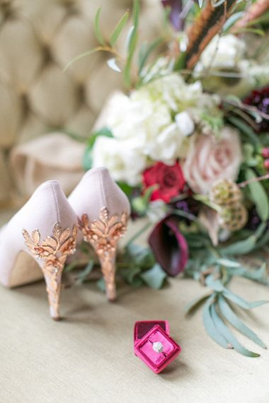 Blush Pink & Rose Gold Embellished Shoes By Harriet Wilde // Anneli Marinovich Photography