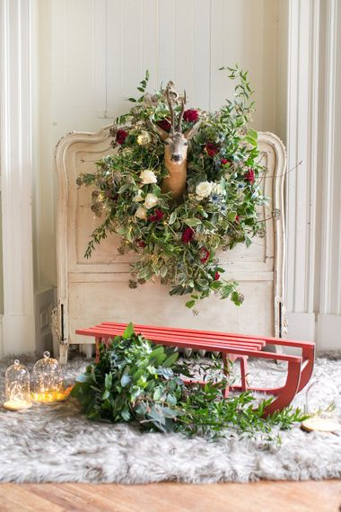 Winter Wedding Styling // Christmas Wreathe // Gingerbread House For A Festive Christmas Wedding With Red And White Florals Stag Motif Stationery Planned & Styled By La Fete Anneli Marinovich Photography