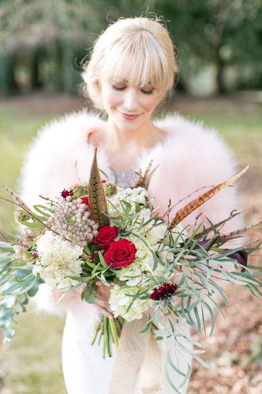 Bride In Pale Pink Faux Fur Jacket // Anneli Marinovich Photography