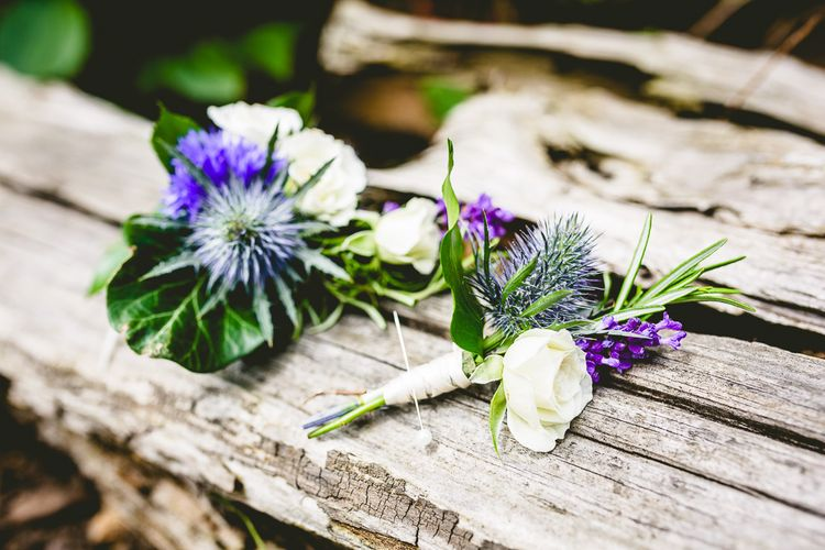 Rustic Buttonholes With Thistles // The Old Parish Rooms Rustic Wedding With Giant Banner For Sweetheart Table And Images From Love That Smile Photography Film From White In Motion