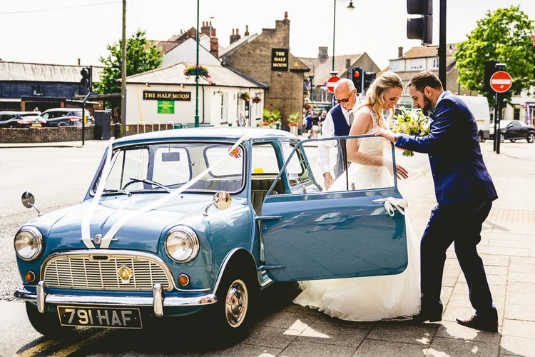 Vintage Mini Wedding Car // The Old Parish Rooms Rustic Wedding With Giant Banner For Sweetheart Table And Images From Love That Smile Photography Film From White In Motion