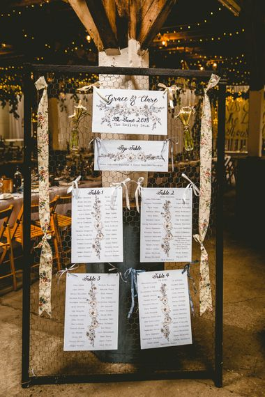 Rustic Table Plan For Wedding